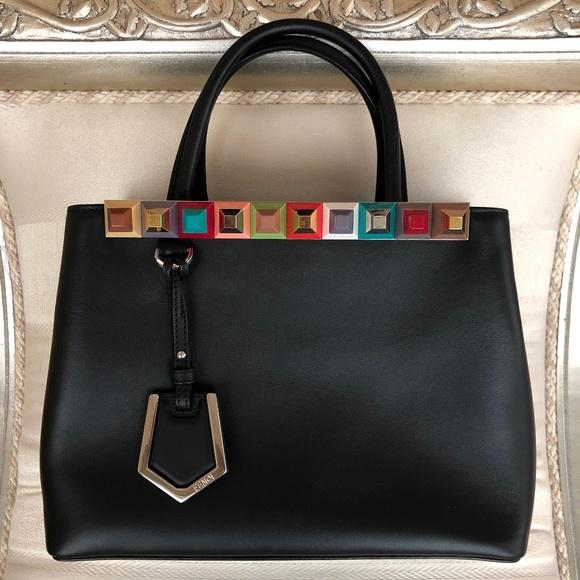 Fendi Handbags - Fendi Petite 2jours Studded Black Leather Bag
